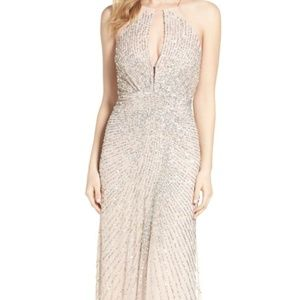 Adrianne Papell Beaded Mesh Fit & Flare Gown